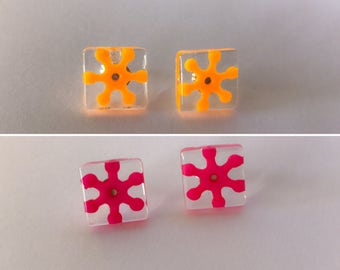 Geo Earring Studs - Various Bright Colours