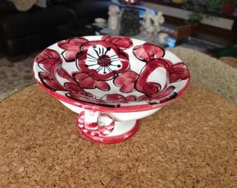 Enesco Italia Urn Shaped Dish Red Floral Trinket Dish