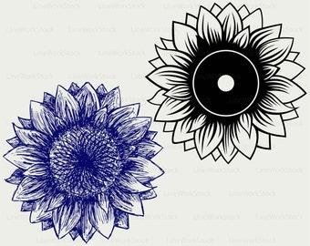 Sunflower svg,sunflower clipart,tulips svg,sunflower silhouette,sunflower cricut cut files,clip art,digital download designs,svg,dxf