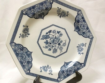 Blue White Floral 10 in Dinner Plate Royal Staffordshire Old Pekin Ironstone by J & G Meakin