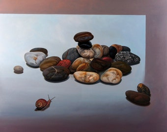 36x40 ORIGINAL ART | Large wall art | Snail stones Painting on Canvas | Oil NaturePainting | Large size painting | Original Artwork