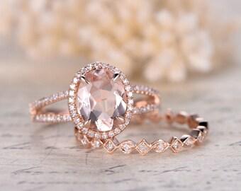 14K Rose Gold Morganite Engagement Ring Set 2pcs Diamond Wedding Rings Set 8x10mm Oval Pink Morganite Ring Diamond Eternity Band Split Band