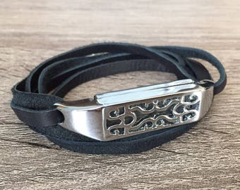 Handmade Leather Bracelet for Fitbit Flex 2 Activity Tracker Black Fitbit Flex 2 Band Multi Wrap Silver Fitbit Flex 2 Jewelry Bracelet