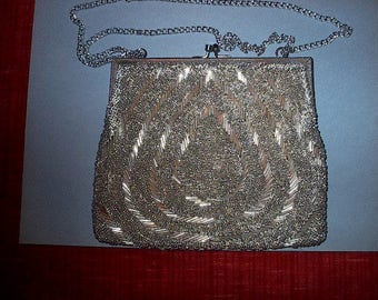 SILVER BEADED Evening Bag (MAGID ) Adjustable double silver chain