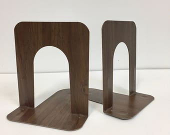 Vintage Metal Bookends/ Faux Wood Bookends/ Bookends