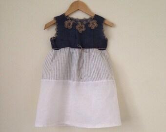 Baltic linen dress with crochet details Natural flower girl dress