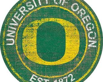 "University Of Oregon NCAA Round Distressed Historic Established Wood Sign 24"" In Diameter"