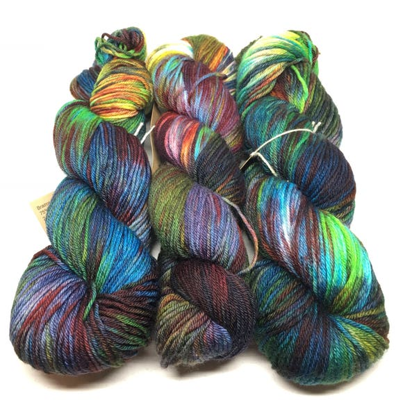 Hand Dyed DK Weight Yarn, Merino/Nylon Blend_It Was a Dark & Stormy Night
