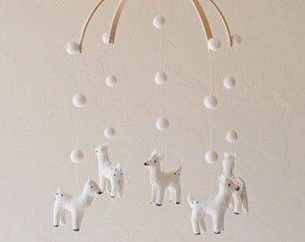 baby mobile - nursery decor - deer mobile - felt balls - white - felt MADE TO ORDER
