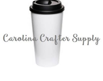 Set of 4 16 Oz Double Wall White Starbucks Inspired Tumbler With Black Screw On Lids Coffee Cup, BPA-Free Starbucks Style Coffee Tumbler
