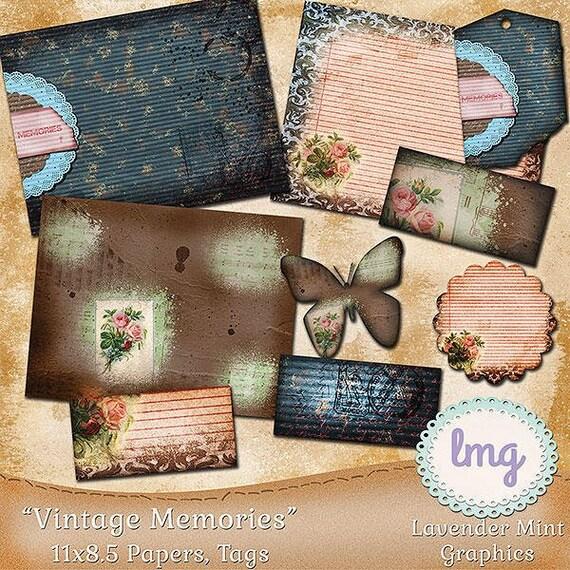 """Vintage Digital Journal Papers - """"Vintage Memories"""" - Junk Journal Papers, Digital Junk Journal, 11x8.5, Instant Download, Commercial Use"""