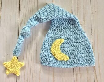 Newborn Moon Hat,  Newborn Elf Hat, Baby Moon Hat, Moon and star hat, Newborn long tail hat, Newborn Photo Prop, Newborn Stocking Cap