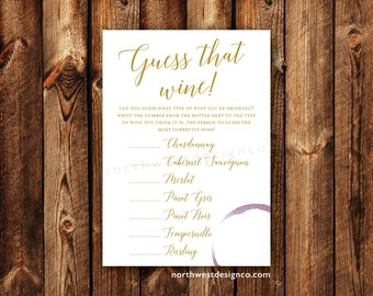DIGITAL - Guess That Wine Bridal Shower Game Wine Themed Bridal Shower Gold Bling Shower Game Wine Ring Printable Instant Download Game