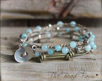 Wrap Bracelet, Crochet Wrap Bracelet, Amazonite Jasper Beaded Crochet Jewelry, Triple Wrap Crocheted Bracelet, Gemstone Bracelet,