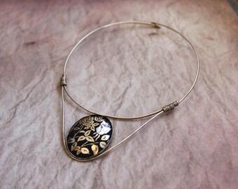 Vintage Collar Japanese Damascene // Damascene Necklace // Kim Craftsmen Collar // Vintage Kim Necklace // Rose Necklace