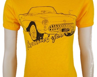 Classic Car Crew Neck T-Shirt Tee Short Sleeves Graphic Orange Yellow Made in Britain Small Excellent