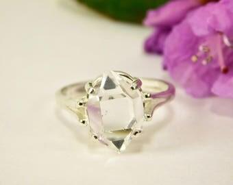 A+ GRADE NY Herkimer Diamond Double Terminated Quartz Crystal Silver Ring-Herkimer Diamond Jewelry - Herkimer Jewelry - Size 7
