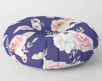 "Oversized Floor Pillow - Watercolor Floral I - Navy Blue Pink - Round or Square - 26"" or 32"" - Throw Poof Pouf Cushion"
