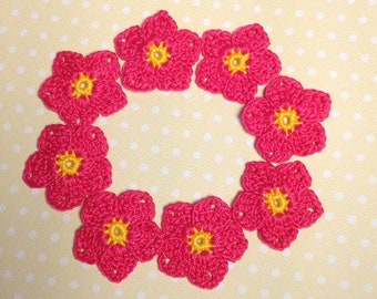 "Crochet Flowers 1-1/4""  - set of 8 (#06-15)"