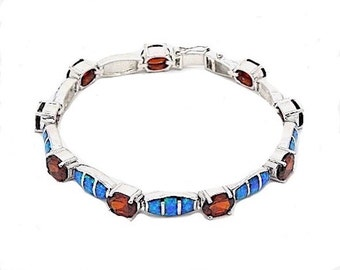Princess Cut Red Garnet & Blue Fire Opal Inlay Solid 925 Sterling Silver Link Tennis Bracelet 7.25'' long. Free shipping in USA