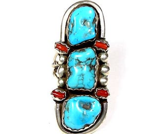 Navajo Made Vintage, Old Pawn 925 Sterling Silver Ring w/ Sleeping Beauty Turquoise & Red Coral sz 11.