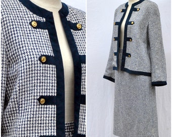 On SALE Vintage 1960s Skirt Suit Nat Kaplan Couture Navy White Military Style Jacket 60s Womens Suit Medium Houndstooth Suede Jackie 0 Style