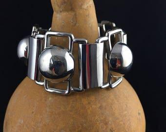 Vintage Modernist Bracelet Wide Silver Bracelet 1950s 1960s Chunky Panel Bracelet Balls Metal Industrial