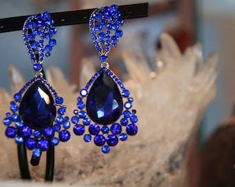 blue large crystal earrings, royal blue rhinestone earrings, prom earrings, pageant earrings, sapphire earrings
