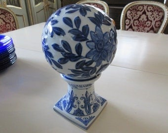BLUE and WHITE BALL on Pedestal