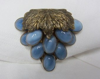 Vintage Brass and Blue Moonstone Cabochon Dress Clip