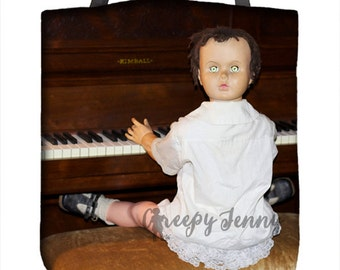 Haunted Doll, Creepy Tote, Music School, Piano Music, Back to School, Book Bag, Unique Tote, Sister Gift Bag, Music Teacher, After School