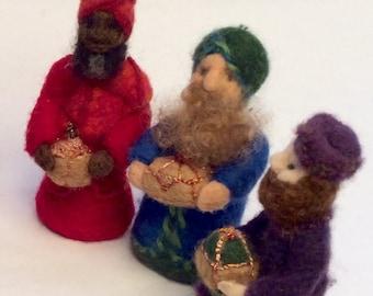 Keepsake Waldorf Nativity Set Wise Men Bible Story Set Natural Needle-felted Wool Free Domestic Shipping in USA
