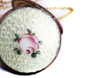 Antique Rosy Gold Filled Yellow Rose Flower Guilloche Enamel Locket & 14k Yellow Gold Chain 1930s