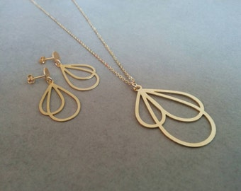 Gold Jewelry Set, Stud Earrings, Gold Necklace, Gold Jewelry, Dangle Earrings, Wedding Jewelry, Gold Earrings, Necklace Earring Set