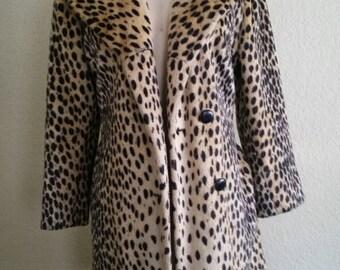 Vintage Faux Fur Leopard Coat