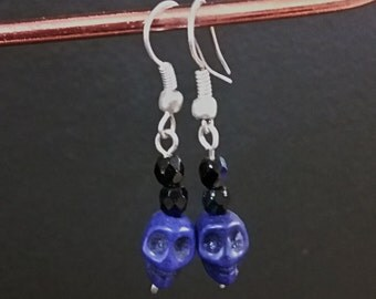 Drop Earrings - Beaded Skulls, Indigo/Blue/Purple & Silver