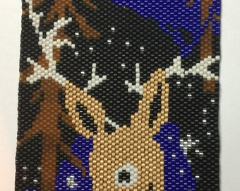 Peyote Pattern - Reindeer and Snow