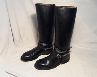 Vintage Black Leather Cavalry Boots with Metal Spurs