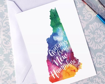 New Hampshire Watercolor Map Greeting Card, Greetings from New Hampshire Hand Lettered Text, Gift, Postcard, Giclée Print, Map Art, 5 Colors