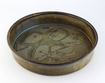 ceramic pie plate, baking dish, handmade pottery, quiche dish, unique baking dish, casserole, pie dish ( No. A-pie-18)