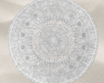 Pearl and marble mandala pattern over-sized round beach towel