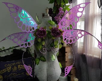 In Stock - XL Pink Iridescent Fairy Wings with Flybacks and Metal Detailing