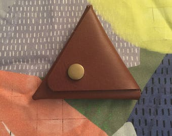 Triangle leather coin purse
