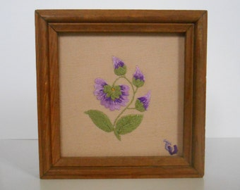 Embroidery of Armenia - real embroidery on fabric in a wood - small square frame