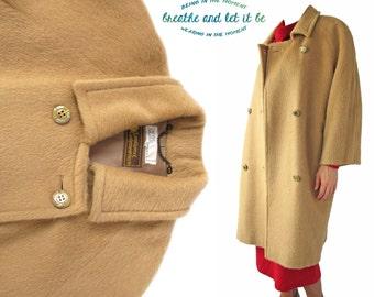 Vintage Golden Beige Cashmere Wool Long Coat | Double Breasted Tan Fur Coats | breathe and let it be
