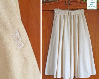 Vintage Cream Microplush Half Circle Mid-Calf Skirt | 70s Banded Gathered High Waist Midi Skirt with Belt | breathe and let it be