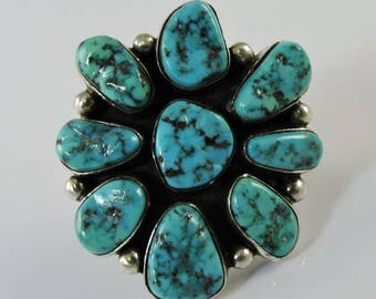Vintage Large Turquoise Cluster Silver Navajo Ring