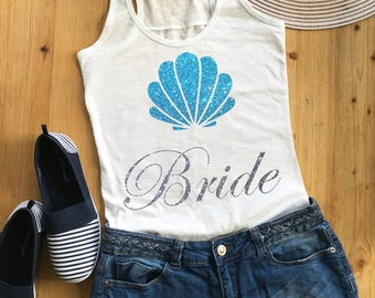 Ladies amazing Beach Bride white Tank Top with blue glitter shell. So sparkling you must have it!