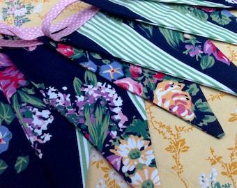 Vintage Rose Bunting, vintage fabric,Sanderson