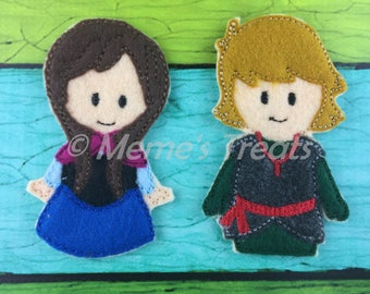 Anna & Kristoff - Set of 2 Finger Puppets Inspired by Frozen